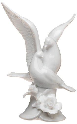 Weddingstar Glazed Porcelain Doves and Flowers Cake (Porcelain Wedding Cake Top)