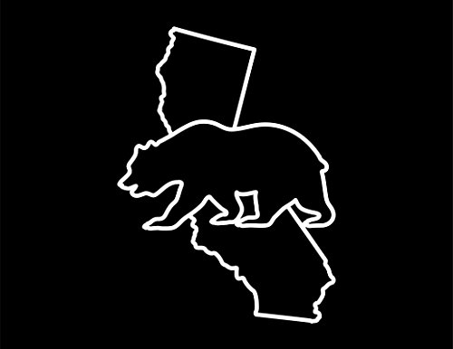 - ND060W California Golden Bear Decal Sticker | 5.5-Inches By 3.3-Inches | Premium Quality White Vinyl