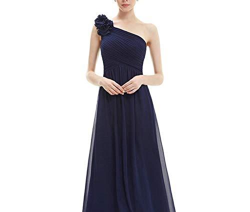 One Shoulder Floral Holiday Celebrity Prom Style Evening Dresses Long,Navy Blue,16