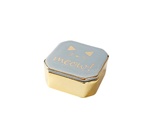 Ceramic Small Travel Jewelry Box, Cute Gold Plated Jewelry Case for Gifts, Storage Organizer for Ring, Necklace, Bracelet(Bule)