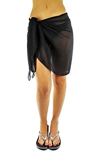 Luxury Divas Womens Black Short Sarong Wrap Cover Up