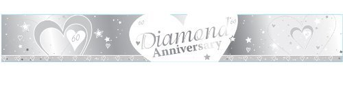 60th Diamond Anniversary Silver & White 9ft Foil Banner