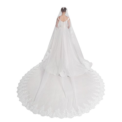 058b2e5928ee AW 1T 142″ Ivory Wedding Veil Applique Edged Tulle and Lace Cathedral Veil  with Comb