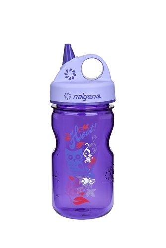 Nalgene Tritan Kids / Children's Grip-n-gulp Water Bottle 12oz Purple Hoot Design