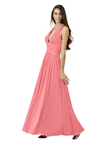 Chiffon Evening Pink Maxi Party Gown Bridesmaid Halter Sexy V Neck Coral Alicepub Dresses Prom ZY0qOY