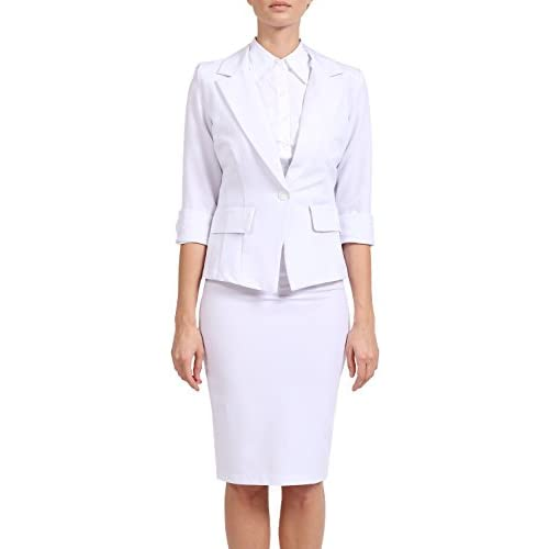 J. LOVNY Women's One Button 3/4 Sleeve Office Business Blazer and Skirt Suit Set