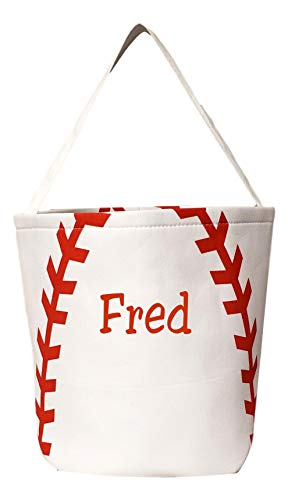 Custom Personalized Fabric Bucket Basket Bag Great for Easter Candy Toys Birthdays (Baseball - Embroidery -