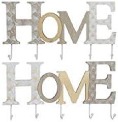Takestop/® Porte-manteau mural en bois Inscription Home 39,5 x 5 x 20 cm 5 crochets porte v/êtements cintre v/êtements mur style shabby chic couleur al/éatoire