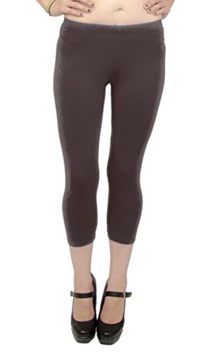Vivian's Fashions Capri Leggings - Cotton, Misses Size (Brown, 3X)