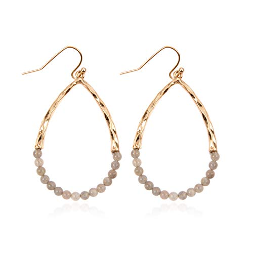 RIAH FASHION Cutout Teardrop Natural Stone Beads Hook Drop Earrings - Hammered Open Pear Shape Beaded Dangles (Teardrop - Gray Agate) ()