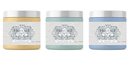 - 3 Pack Samples (8oz Each Color) All in One Chalk Style Paint, Colors: Meadowsweet, Irish Garden & Antoinette