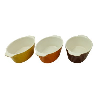Kitchen Collection Set of 3 Mini Oval Ceramic Casserole Dishes Assorted Colors 09346