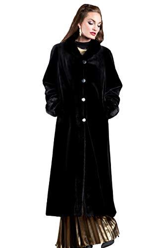 (EM-EL Women's Black Sheared Mink Reversible Fur Coat)