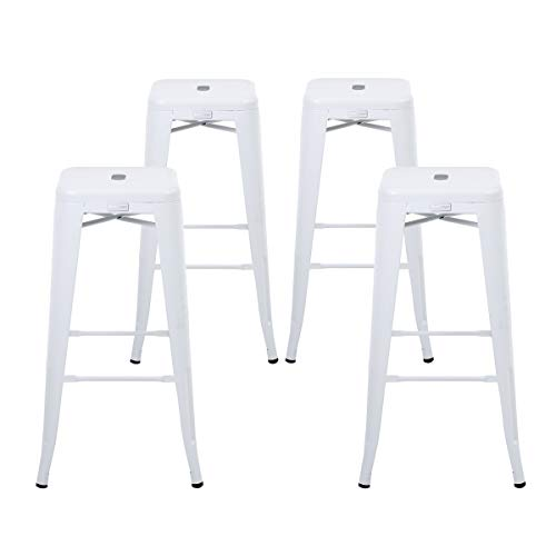 Buschman Set Four Matte White 30 inches Bar Height Metal Bar Stools, Indoor/Outdoor, Stackable