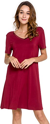 GYS Women's Short Sleeve Nightshirt V Neck Bamboo Nightgown, Wine, Medium