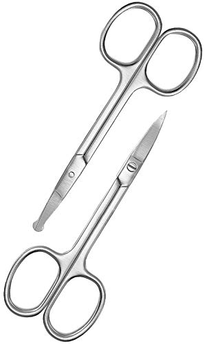 Facial Hair Grooming Scissors For Men- Curved and Rounded Mustache, Nose Hair Scissors & Beard Trimming Scissors- Small Scissors for Eyebrows and Ear Hair- Stainless Steel