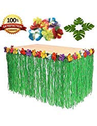 9ft Table Skirt Hawaiian Luau Hibiscus Green Table Grass Skirt with 24pcs Tropical Palm Leaves and 24 Hibiscus Flowers, Party Decorations (1 Table Skirt & 24 Leaves & 24 Flowers)