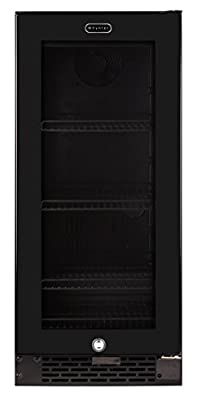 Whynter BBR-801BG Built-in Glass 80-Can Capacity Beverage Refrigerator, 3.4 cu. ft., Black
