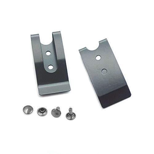 Bluemoona 4 Sets - Metal 54x25mm Holster Sheath Belt Clip Clasp Spring Buckle Hook Double Holes Black (Spring Belt Clip)