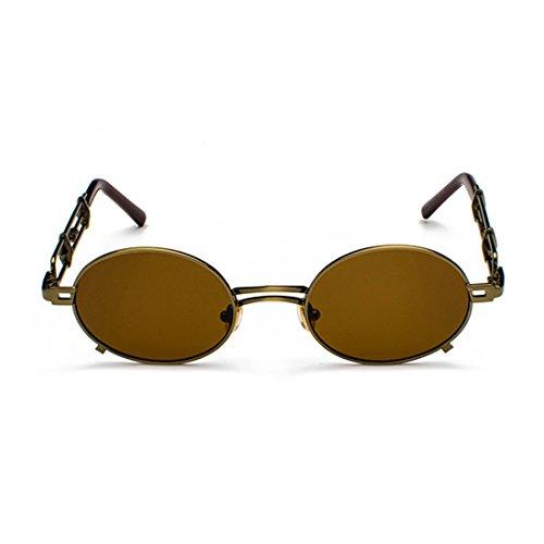 Espejo Tono sol de Circular metal Gafas marco de Marrón recubrimiento Hombres mujeres Gafas de gafas de y Aiweijia de sol de Gafas wUAZg