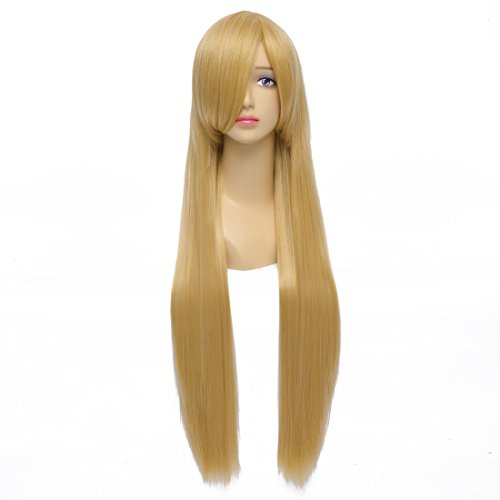 [Flovex 32 inches Long Straight Anime Cosplay Wig Natural Sexy Costume Party Hair (Golden Yellow)] (Long Sexy Wigs)