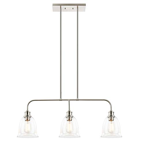 Light Society 3-Light Austin Pendant Lamp, Satin Nickel Finish with Handblown Clear Seeded Glass Shades, Adjustable Modern Lighting Fixture for Kitchen Island, Dining Room and Restaurants (LS-C243-SN) (Clear Glass Pendant Lights For Kitchen Island)