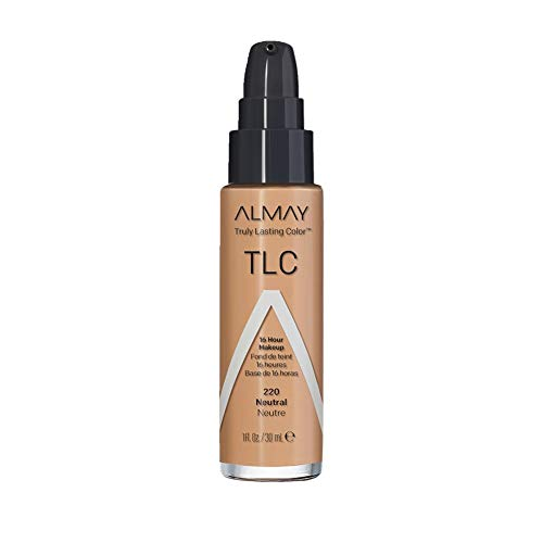Almay Truly Lasting Color Liquid Makeup, Long Wearing Natural Finish Foundation with Vitamin E and Lemon Extract, Hypoallergenic, Cruelty Free, Fragrance Free, Dermatologist Tested, 220 Neutral, 1 oz