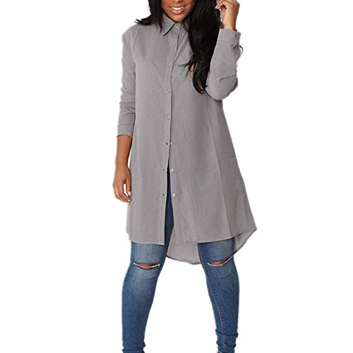 Fashion Mesdames LULIKA Longues Chemisier Chemise Gris Manches xwp5a507qn