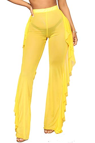 Doqcey Women's Perspective Sheer Mesh Ruffle Pants Swimsuit Bikini Bottom Cover up (Yellow, X-Large) ()