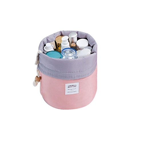 Clearance! Waterproof Cosmetic Travel Barrel Toiletry Bag Organizer Makeup Bag Bathroom Storage Drawstring (Pink)