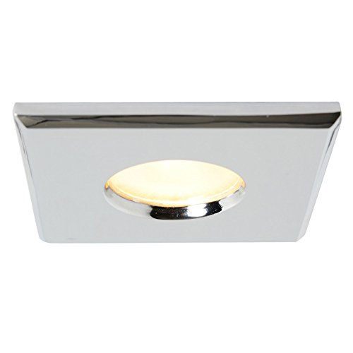 Bathroom Ceiling Light IP44 Flush Frosted Glass Chrome Square Plate Better Bathrooms Outlet