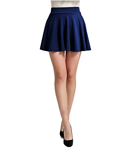 ViviClo Women's High Waist Solid Versatile Stretchy Pleated Flared Skater skirt with safety shorts (Navy Blue) (Sexy Blue Pleated Skirt)