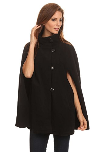 LL Womens Cape Poncho Coat Fall Winter Soft Fleece Open Front Button, Black, One Size