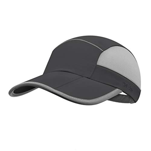 UPF 50+ Mens Outdoor Hat Reflective Folding Mens Running Run Sports Sport Hats Summer Cool UV Sun Unstructured Baseball Cap Caps Light Quivk Dry Breathable Travel Golf Hat Hats for Men Women Dark Grey