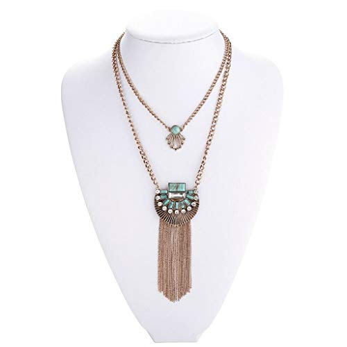 1pc Retro Pop Crystal Turquoise Tassel Sweater Chain Necklace Jewelry Golden Necklace Jewelry Crafting Key Chain Bracelet Pendants Accessories Best