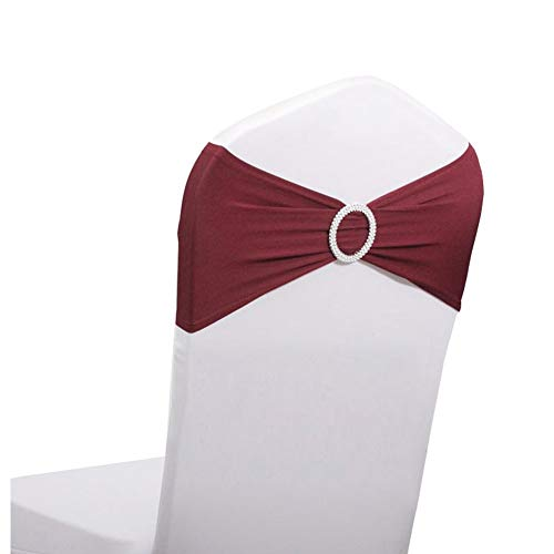 LOVWY 50 PCS Burgundy Spandex Chair Bands Stretch Chair Sashes Bows for Wedding Party Engagement Event Birthday Graduation Meeting Banquet Decoration (50 PCS, ()