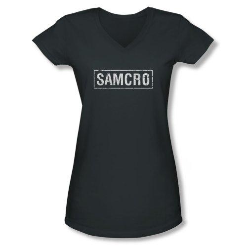 Sons of Anarchy - Junior's V-Neck Shirt SAMCRO logo, Medium, Charcoal (Juniors Of Anarchy Sons Shirt)