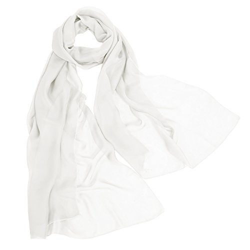 Sheer White Chiffon Scarf - 2