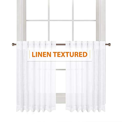 (RYB HOME Linen Wave White Sheer Curtains Semi- Voile with Textured Pattern Half Window Drapes for Cafe Tiers, Small Window Covering for Kitchen/Nursery, Wide 52