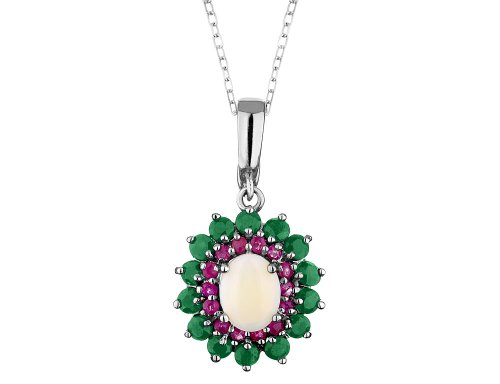 Emerald, Ruby and Opal Pendant Necklace 3.45 Carats (ctw) in Sterling Silver with Chain