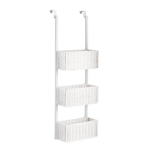Southern Enterprises Over-The-Door 3-Tier Woven Basket Storage, White Finish (White Wicker Storage Basket)
