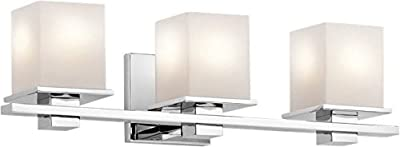 Kichler 45151CH Tully 3-Light Vanity Fixture and Satin Etched Cased Opal Glass, Chrome Finish