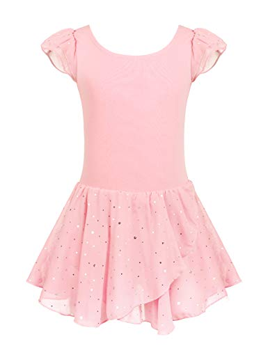 Arshiner Girls Ruffle Sleeve Ballet Dance Dress Glitter Tutu Skirted Leotard]()