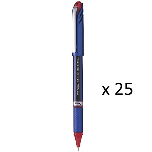 (Wholesale CASE of 25 - Pentel EnerGel NV Needlepoint Metal Tip Pens-Gel Pen, Needlepoint, Nonrefillable, 0.5mm, Red Ink)