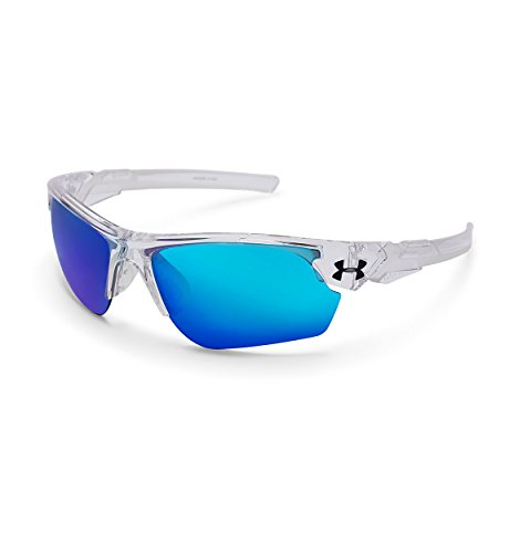 Under Armour UA Windup Wrap Sunglasses, UA Windup Crystal Clear / Frosted Clear Frame / Gray / Blue Multiflection Lens, 58 - Under Sunglasses Armour
