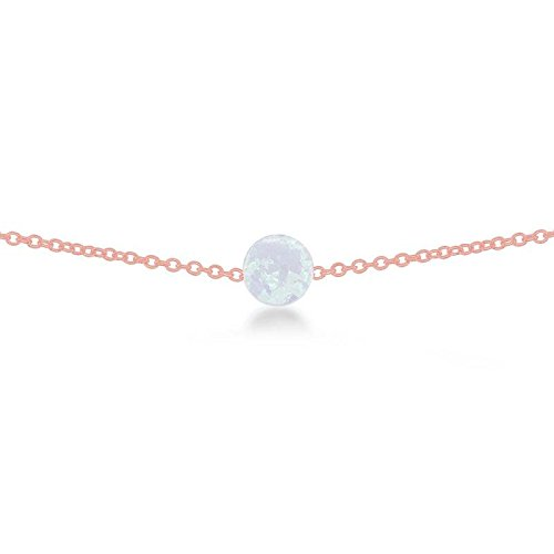 Sterling Silver Rose Gold Plated Created White Opal Round Disc 9+2'' Anklet