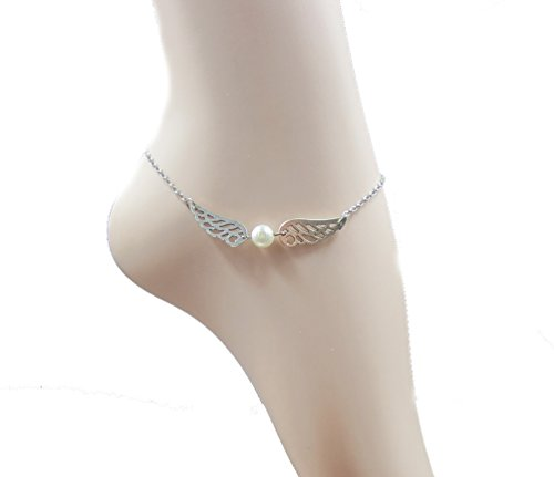 AmazingOS® Silver Plated Double Angel Wings Anklet, Pearl Bead Chain Foot Jewerly Fashion