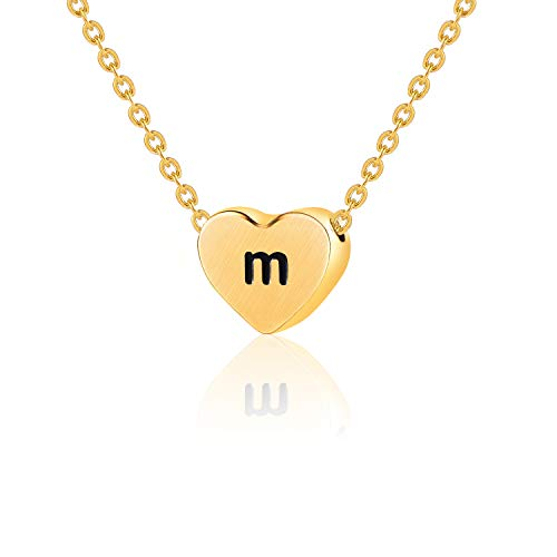 WIGERLON Initial Letter Heart Necklace:Stainless Steel 14K Gold Plated for Women and Girls from A-Z Letter M