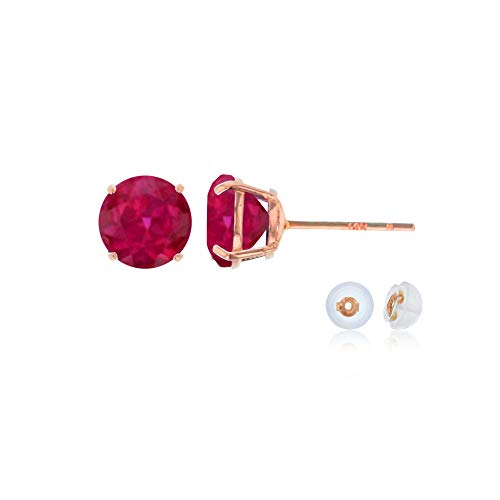 (Genuine 14K Solid Rose Gold 6mm Round Created Ruby July Birthstone Stud Earrings)
