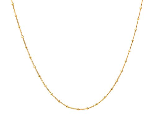 - FOROLAV Women's 925 Sterling Silver Beaded Curb Chain Choker Necklace Adjustable, 14